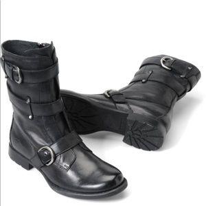 BORN Black Leather Moto Boots